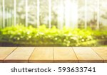 empty wood table top on blur... | Shutterstock . vector #593633741