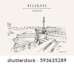 kalemegdan fortress and viktor... | Shutterstock .eps vector #593635289