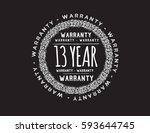 warranty 13 year icon vector | Shutterstock .eps vector #593644745