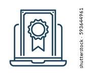 laptop and certificate vector...   Shutterstock .eps vector #593644961