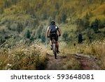 athlete cyclist mountainbiker... | Shutterstock . vector #593648081