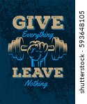 power lifting poster quote...   Shutterstock .eps vector #593648105