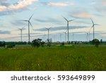 wind turbine farm   environment ...   Shutterstock . vector #593649899