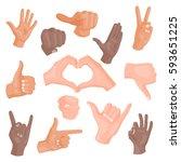 hands showing different... | Shutterstock .eps vector #593651225