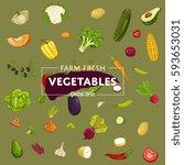 farm fresh vegetable banner... | Shutterstock .eps vector #593653031
