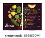 vegan cafe food menu design... | Shutterstock .eps vector #593653094