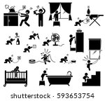 safety hazard at home for... | Shutterstock .eps vector #593653754