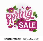 spring sale background with... | Shutterstock .eps vector #593657819