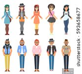 hipster style bearded man young ... | Shutterstock .eps vector #593658677