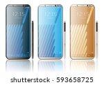 realistic smartphone white ... | Shutterstock .eps vector #593658725