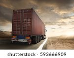 truck with container runs on a... | Shutterstock . vector #593666909