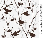 seamless pattern with birds and ... | Shutterstock .eps vector #593667455