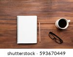 blank note book  glasses and... | Shutterstock . vector #593670449