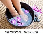woman's feet in foot spa bowl... | Shutterstock . vector #59367070