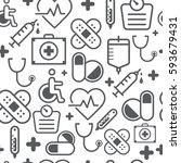 different line style icons... | Shutterstock .eps vector #593679431