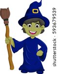 halloween ugly witch with a hat ... | Shutterstock .eps vector #593679539