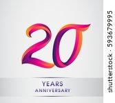 twenty years anniversary... | Shutterstock .eps vector #593679995