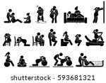 childbirth labor positions and... | Shutterstock .eps vector #593681321