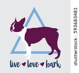 boston terrier french bulldog... | Shutterstock .eps vector #593683481