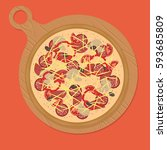 cartoon  colorful pizza on a... | Shutterstock .eps vector #593685809
