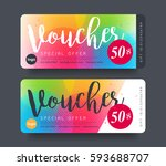 gift voucher template with... | Shutterstock .eps vector #593688707