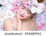 beautiful romantic young woman... | Shutterstock . vector #593689541