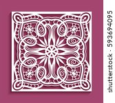 decorative panel with lace... | Shutterstock .eps vector #593694095