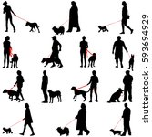 set ilhouette of people and dog.... | Shutterstock .eps vector #593694929