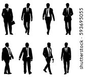 set silhouette businessman man... | Shutterstock .eps vector #593695055