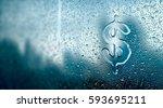 water drop forming a dollar... | Shutterstock . vector #593695211