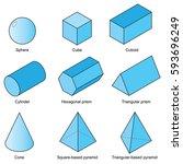 3d shape set isolated on white... | Shutterstock .eps vector #593696249