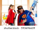 preschooler girl and her mother ... | Shutterstock . vector #593696639