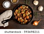 roasted mushrooms with onion in ...   Shutterstock . vector #593698211