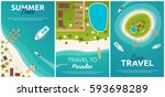 set of banners colorful travel... | Shutterstock .eps vector #593698289