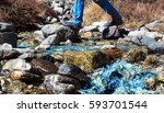 small clean mountain creek with ... | Shutterstock . vector #593701544