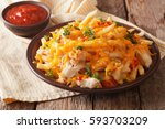 spicy fast food  french fries... | Shutterstock . vector #593703209
