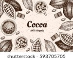 vector frame with cocoa. hand... | Shutterstock .eps vector #593705705
