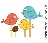 colorful cute cartoon birds set ... | Shutterstock .eps vector #593705945