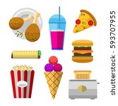 vector icons sweet fast food... | Shutterstock .eps vector #593707955