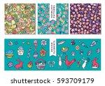 cartoon hand drawn doodles on...   Shutterstock .eps vector #593709179