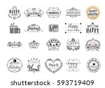 typographic badges   happy... | Shutterstock .eps vector #593719409