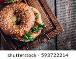 bagels with cream  avocado ... | Shutterstock . vector #593722214