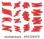 ribbon vector icon set red... | Shutterstock .eps vector #593724575