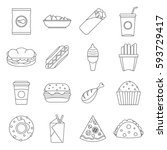 fast food icons set. outline... | Shutterstock . vector #593729417