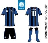 set of soccer kit or football... | Shutterstock .eps vector #593729609