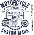 motorcycle typography  t shirt... | Shutterstock .eps vector #593731721