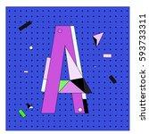 vector letter a memphis style... | Shutterstock .eps vector #593733311