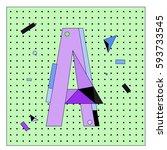 vector letter a memphis style... | Shutterstock .eps vector #593733545