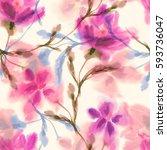 watercolor flowers seamless...   Shutterstock . vector #593736047