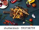 roasted chicken drumsticks.... | Shutterstock . vector #593738759